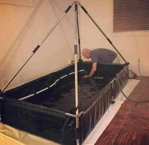 the zen floating tank in a room